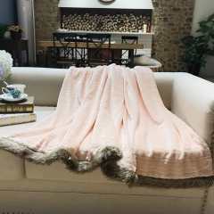 High quality embossed flannel +solid sherpa + Bunny fur border blankets