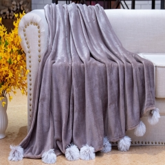 Flannel sofa throws fringes decorative Solid velvet Fleece blanket throw with chenille POMPOM