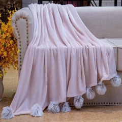 100% Polyester velvet soft fur blanket Solid fleece plush POM POM throw with chenille fringes