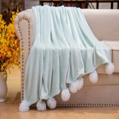 velvet Fleece POMPOM Blanket sofa throws bedding throw with solid color