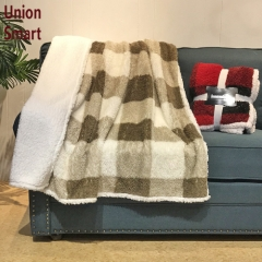 2020 New product printed flannel fleece reversible sherpa blanket throw
