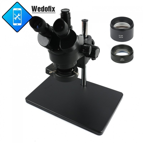 3.5X-90X Continuous Zoom Trinocular Stereo Microscope +Big size metal stand 0.5X/2X Auxiliary Objective Lens+56 LED Ring Lamp