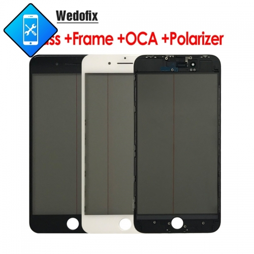 4 in 1 iPhone Front Glass with 250um OCA + Original Polarizer Film + Frame for iPhone 6 7 8