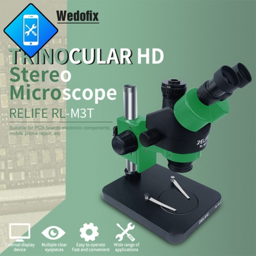 RELIFE RL-M3T Trinocular Stereo Microscope 7X-45X Zoom Super HD Microscope with 144 LED Light for Microsolder Repair