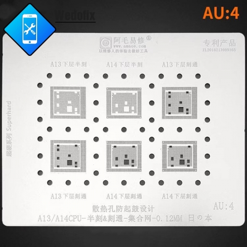 Amaoe 0.12mm A13 A14 Phone CPU BGA Reballing Stencil for Logic Board Swap Repair
