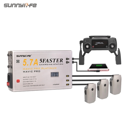 Sunnylife 5.7A Battery Charger 5IN1 Controller Smartphone Tablet Charger with OLED Display for MAVIC PRO