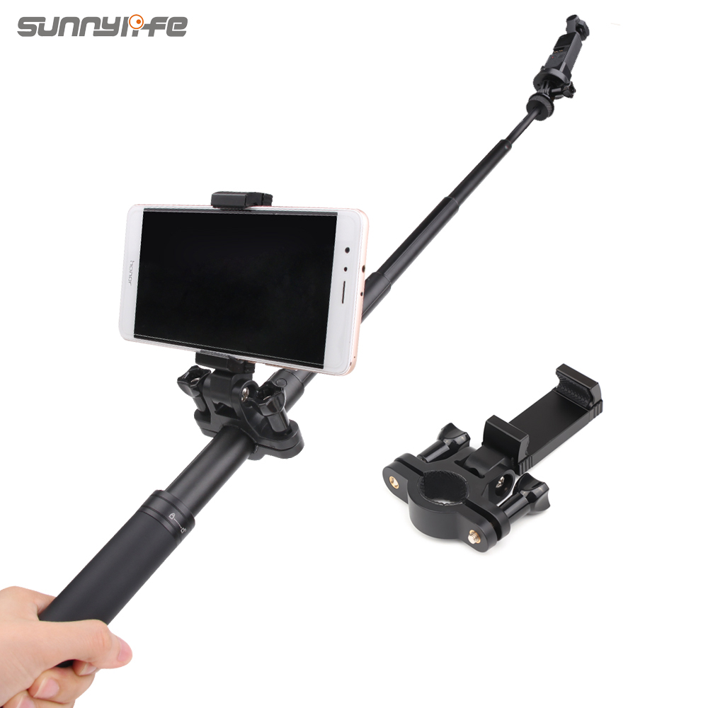 Sunnylife Smartphone Bracket Holder Selfie Support on Extension Rod for OSMO POCKET ACTION GOPRO 8 MAX Sports Cameras