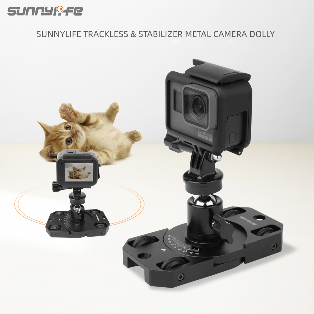 Sunnylife Stabilizer Trackless Camera Dolly Metal Bracket for Gopro/OSMO Action/ OSMO Pocket/Insta360 Sports Camera Accessories