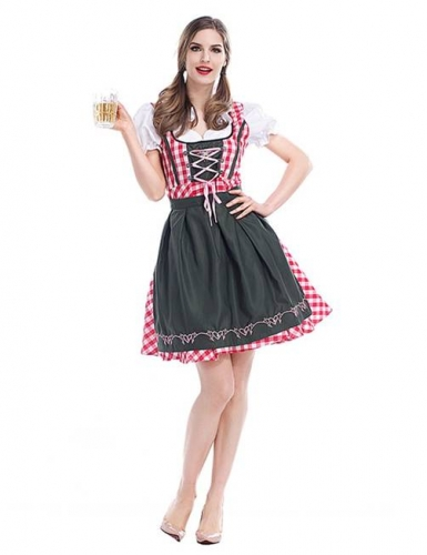 Women's German Oktoberfest Dirndl Dress Bavarian Beer Maid Costume for Halloween