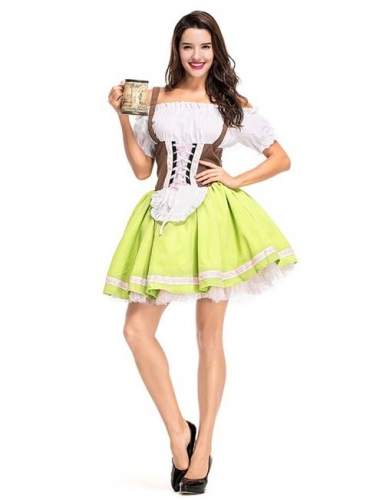 Women's German Oktoberfest Dirndl Beer Maid Fancy Dress Halloween Costume