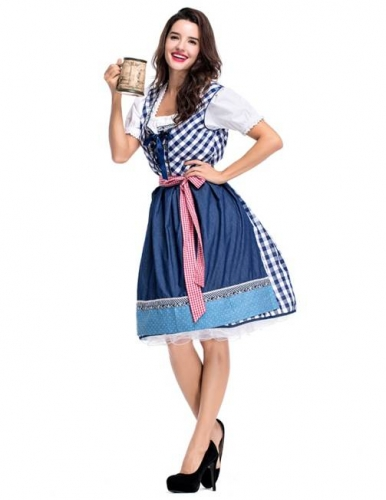 Womens German Dirndl Dress, 3-Piece Bavarian Oktoberfest Costumes for Halloween Carnival