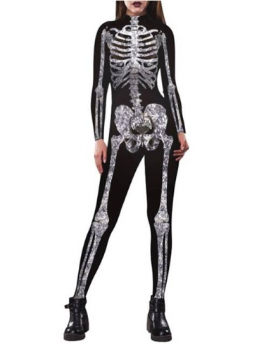 Womens Skeleton Costume, 3D Printed Halloween Cosplay Jumpsuit Bodysuit