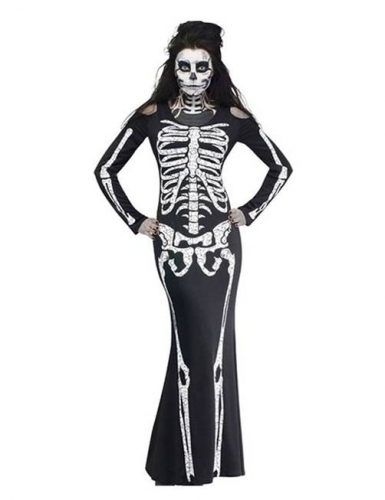 Womens Halloween Skeleton Costume, Stretchy Maxi Fancy Dress for Dress-up Party