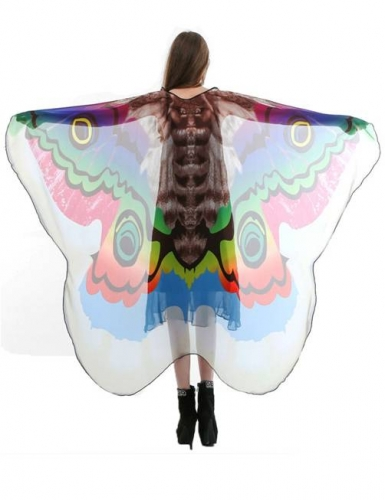 Halloween Moth Wings Shawl Soft Fabric Fairy Pixie Costume Accessory