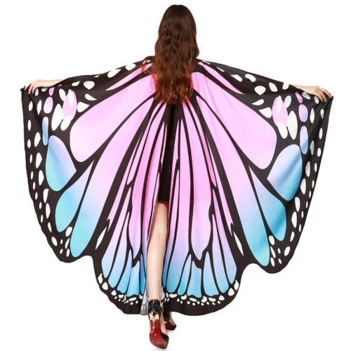 Halloween Butterfly Wings Shawl Soft Fabric Fairy Pixie Costume Accessory-Pink