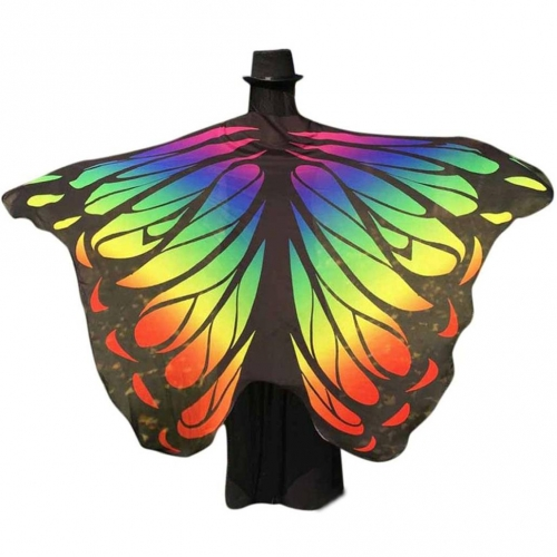 Halloween Butterfly Wings Shawl Soft Fabric Fairy Pixie Costume Accessory-Colorful