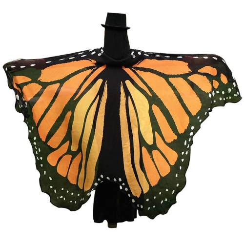 Halloween Butterfly Wings Shawl Soft Fabric Fairy Pixie Costume Accessory-Orange