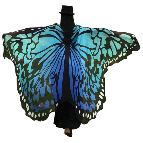 Halloween Butterfly Wings Shawl Soft Fabric Fairy Pixie Costume Accessory-Blue