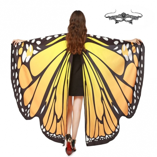 Halloween Butterfly Wings Shawl Soft Fabric Fairy Pixie Costume Accessory-Yellow