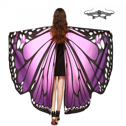 Halloween Butterfly Wings Shawl Soft Fabric Fairy Pixie Costume Accessory-Purple