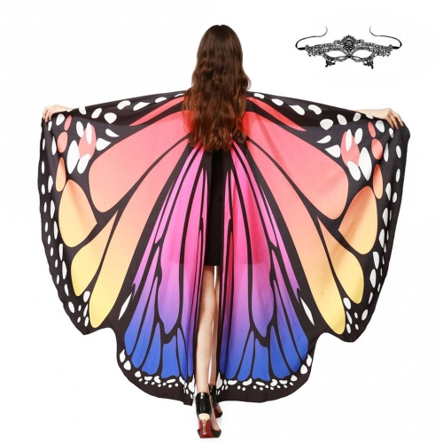 Halloween Butterfly Wings Shawl Soft Fabric Fairy Pixie Costume Accessory-Red&Blue