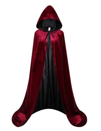 Adult Costume Hooded Cloak, Halloween Medieval Velvet Cape Lined with Satin-Wine-Red&Black