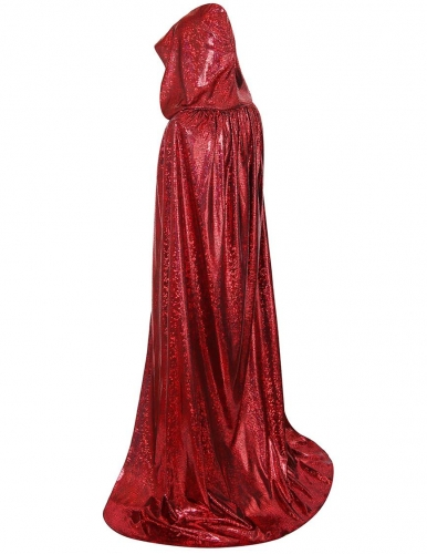 Unisex Christmas Hooded Cloak, Shiny Full Length Halloween Costume Party Cape-Red Laser