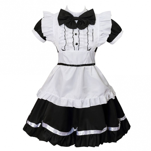 Women's Cosplay Cat Ear French Apron Maid Fancy Dress Costume-Black