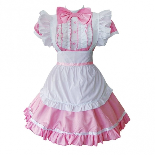 Women's Cosplay Cat Ear French Apron Maid Fancy Dress Costume-Pink