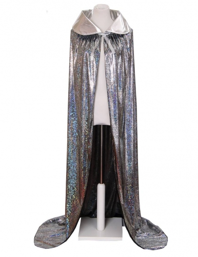 Laser Halloween Hooded Cape, Full Length Cosplay Cloak-Silver