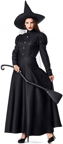 GRAJTCIN Women's Wicked Witch Costume, Halloween Deluxe Classic Witchy Dress Adult