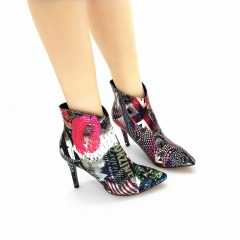 Booties wholesaler Red Lips Pointed toe Graffiti Zipper Ankle heel boots