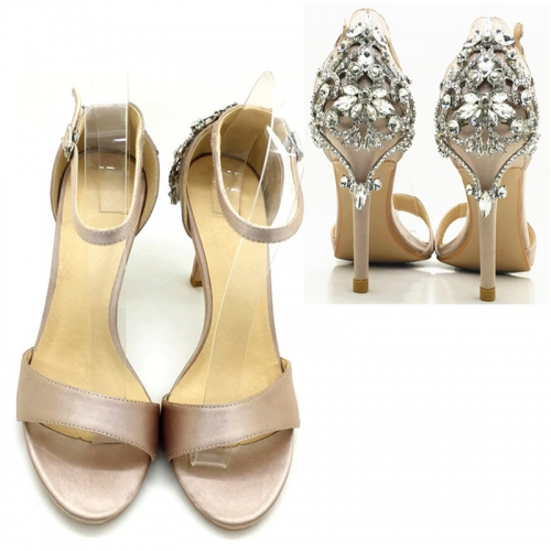 Wholesale Round Toe Satin Diamonds heel sandals supplier