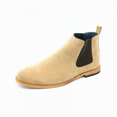 Shoe Supplier Wholesale Mens' Suede Elastic Wingtip Dress Ankle Boots