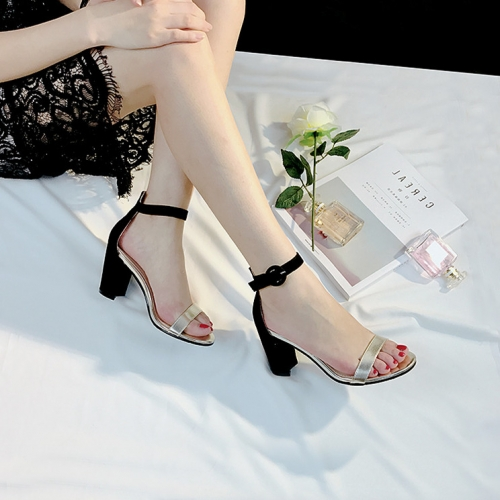 Womens Round toe mix color Thick Heels sandal shoes wholesaler