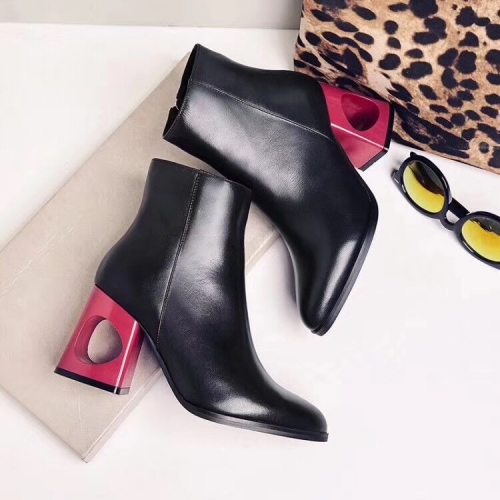 Wholesale Boots Pointed Toe Hollow out Heel Women's Leather Ankle booties