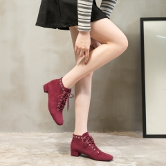 Suede Bootie factory wholesale Eyelets Squared toe Lace Up Womens Ankle boots