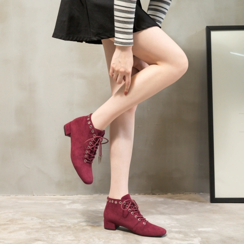 Bootie factory wholesale Eyelets Squared toe Lace Up Womens Ankle boots