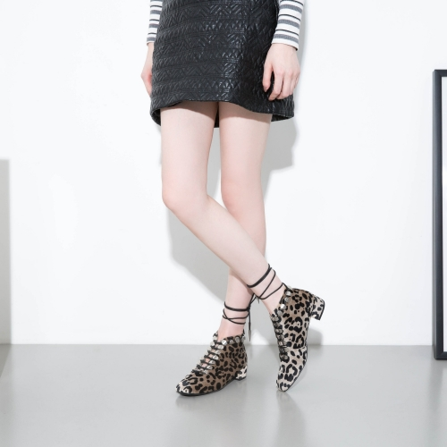 Bootie factory wholesale Rivets leopard print Squared toe Lace Up Womens Ankle booties