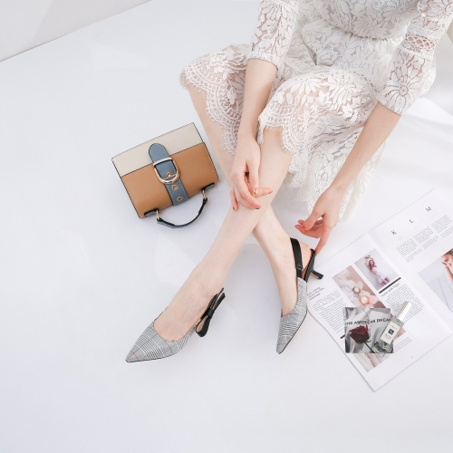 Shoes factory Wholesale Grid Bowknot pointed toe cat heel pumps