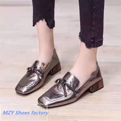 MZY low heel shoe Wholesaler Womens Squared toe footwear Simple Low heel shoes