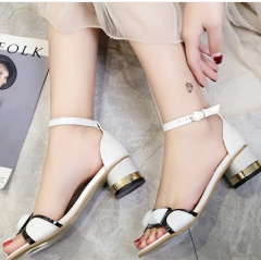 Shoes Manufacturer Wholesae Womens Transparent Colorful Straps Chunky Heels slippers
