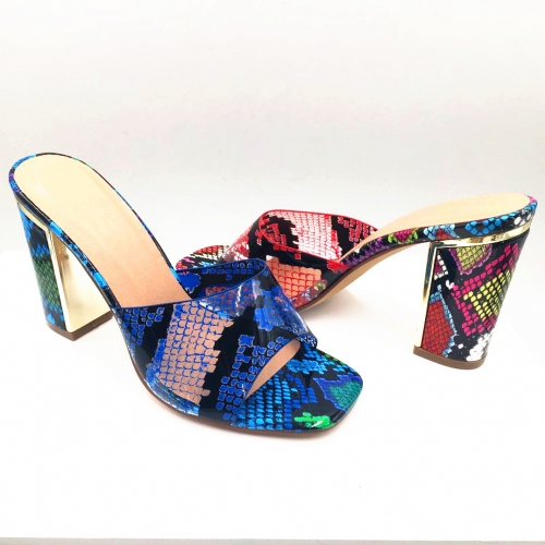 Shoe slipper Producer Wholesaer Women's Transparent Snake colorful Chunky Heel shoes
