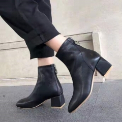 Producing Boot wholesale Squared V neckline toe real leather bootie Women's Ankle Chunky heel boots