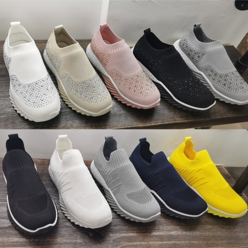 Flyingknit shoe supplier Wholesale women's flyknit shoes men's flyingkints Sneaker footwear women's diamonds Sport shoes