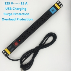 120V/15A  PDU 6 Outlets with Surge Protection USB charge 19in Rackmount Power Distribution Unit