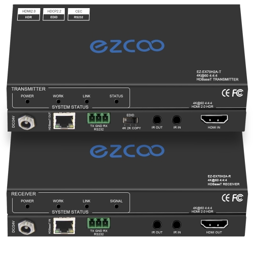 4K HDMI Extender Over Ethernet, 4k60 4:4:4,Uncompressed 18G/BPS Over Single Cat5/6 up to 40m(165ft), RS232+POE+IR+HDCP2.2, HDR and Atmos, CEC, EDID