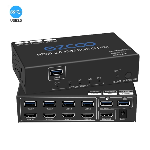 HDMI2.0 Switch 4X1 with USB3.0 KVM, 3 port USB,support 4K60Hz 4:4:4 and HDR, audio breakout