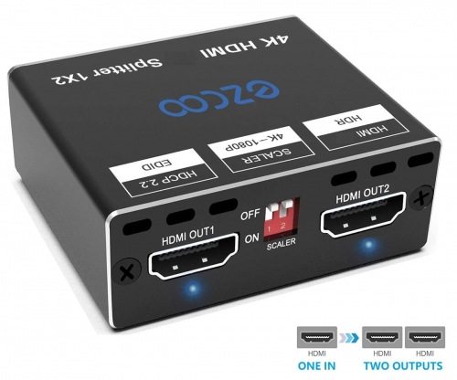 4K60 HDMI Splitter 1X2, Dolby Vision HDR, scaler output from 4K to 1080P, EDID Setting, Mini size,