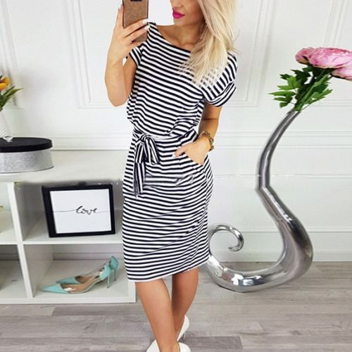 Summer Striped Print Dress Short Sleeve  Hip Package Party Vestidos